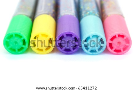 Colorful felt tip pens isolated on white background. - stock photo