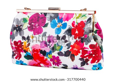 Colorful female clutch isolated on white background - stock photo