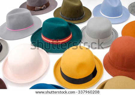 colorful female hat-white background - stock photo