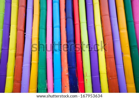colorful fence,many colors of the wood