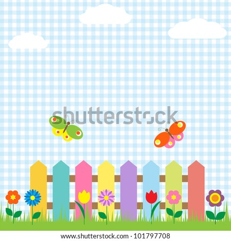 Colorful fence with flowers and butterflies.Raster version