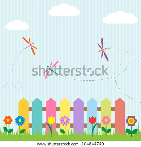 Colorful fence with flowers and dragonflies.Raster version