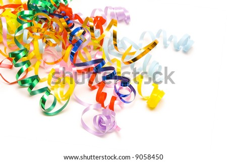 Colorful festive ribbons on a white background