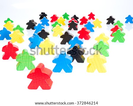 colorful figures are on the white surface - stock photo