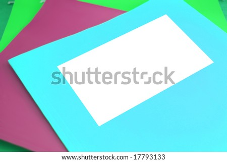 colorful file folders  with blank space for writing - stock photo