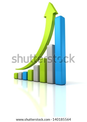 colorful financial bar graph with growing arrow up - stock photo