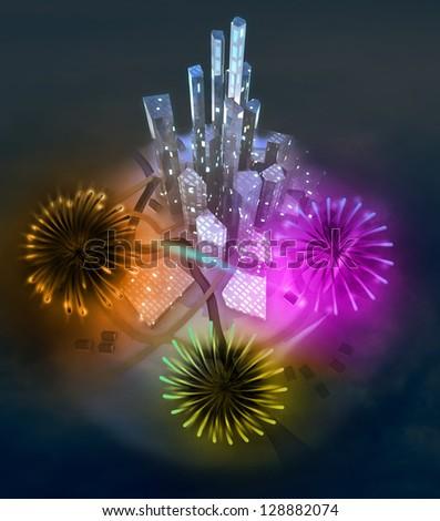 colorful firework celebration above modern cityscape illustration - stock photo
