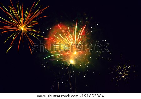 Colorful firework on black background, new year event