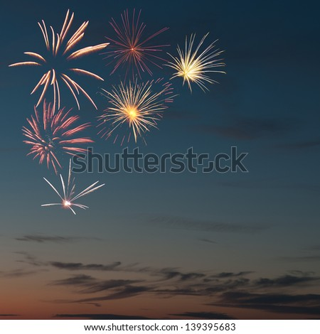 colorful fireworks and salute with various colors