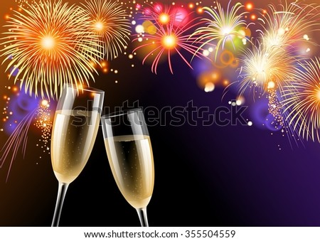 Colorful fireworks and two glasses of champagne, illustration