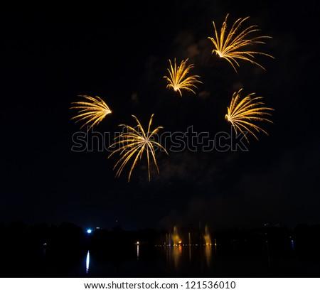 Colorful fireworks beautiful - stock photo