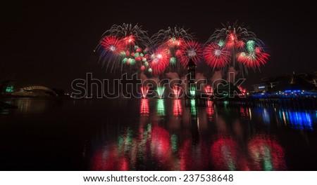 Colorful Fireworks Celebration - stock photo