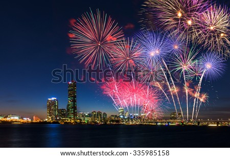 Colorful fireworks in Seoul ,South Korea