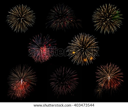 colorful fireworks isolated on black background