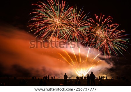 Colorful fireworks of various colors over night sky with spectators