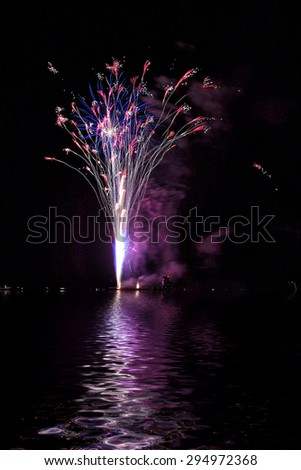 Colorful fireworks on black sky - stock photo