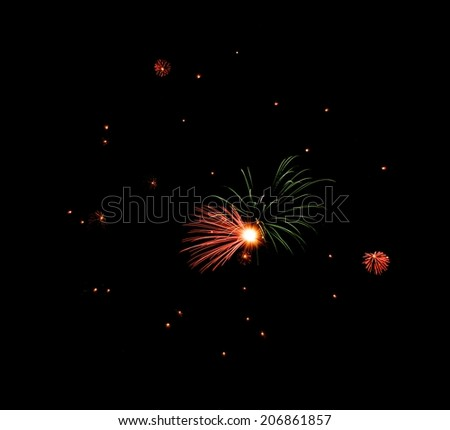 Colorful fireworks on dark background