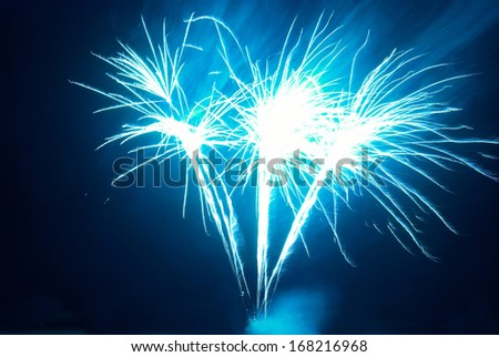Colorful fireworks on the black sky background - stock photo