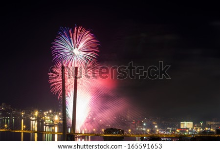 Colorful fireworks over city.