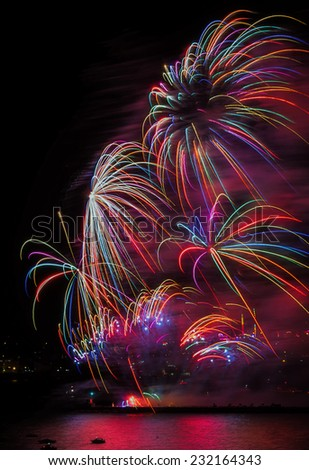 Colorful fireworks over the sea in Plymouth in UK.