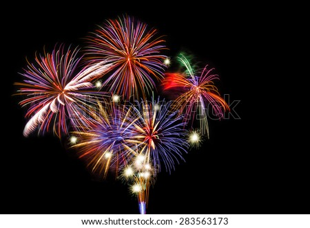 Colorful fireworks show with copy space.