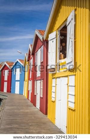 Colorful fisherman houses in Smogen, Sweden  - stock photo