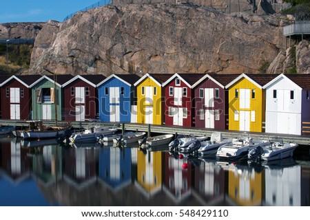 Colorful fisherman houses in Smogen, Sweden, long exposure