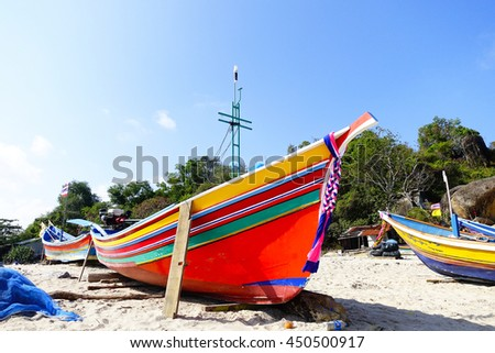 colorful fishing boat on the beach ,select focus with shallow depth of field