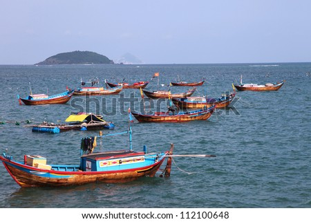 Colorful fishing boats in Nha Trang Vietnam - stock photo