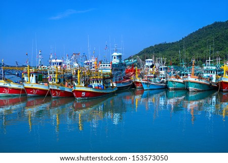 Colorful fishing boats in Thailand. - stock photo
