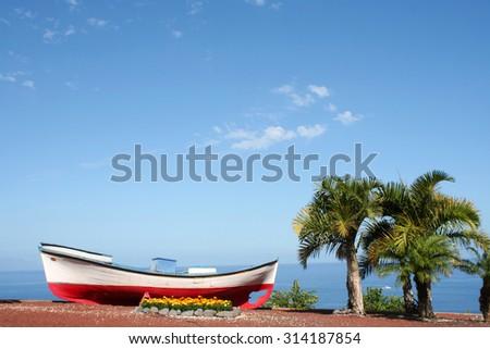 Colorful fishing boats on beach in  Tenerife island, Spain - stock photo
