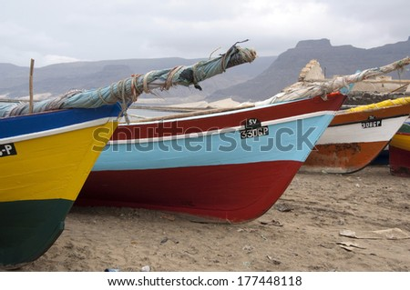 Colorful fishing boats on beach, Mindelo, Sao Vicente Island, Cape Verde Islands - stock photo