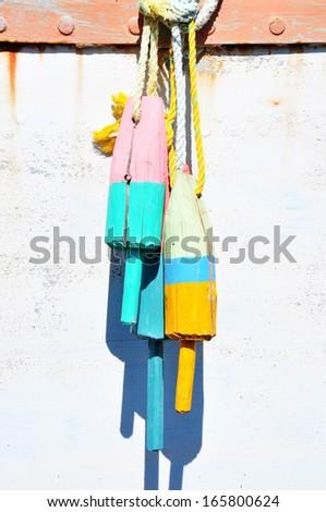 Colorful fishing buoys - stock photo