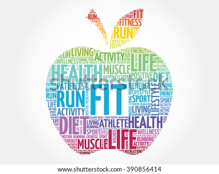 Colorful FIT apple word cloud concept - stock photo
