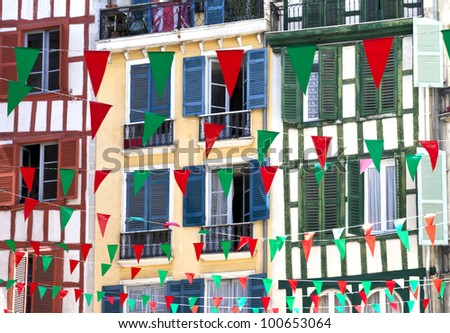 Colorful flags for august festival in Bayonne - stock photo