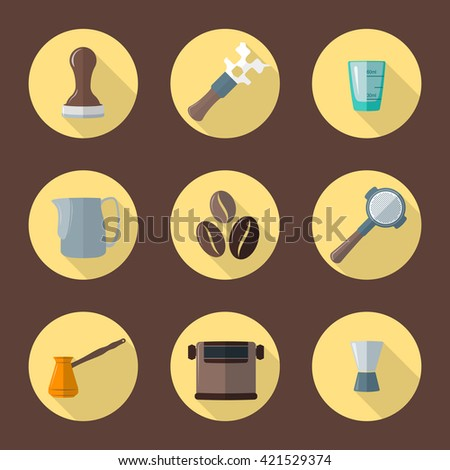 colorful flat coffee barista equipment tools espresso tamper, coffee wrench, measuring glass, pitcher, coffee beans, filter holder, funnel, knockbox, turk round icons isolated brown background     - stock photo