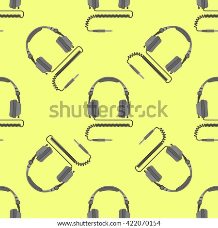 colorful flat design electric device dj headphones with cable and jack connector decoration seamless pattern yellow background  - stock photo