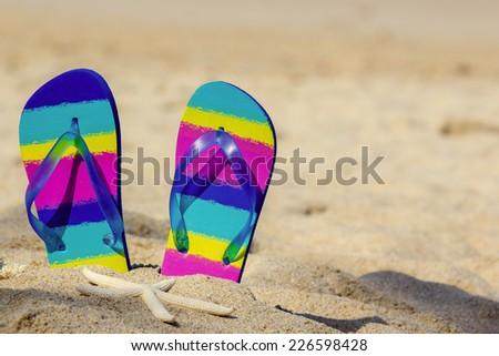 Colorful flip-flops on sand beach - stock photo