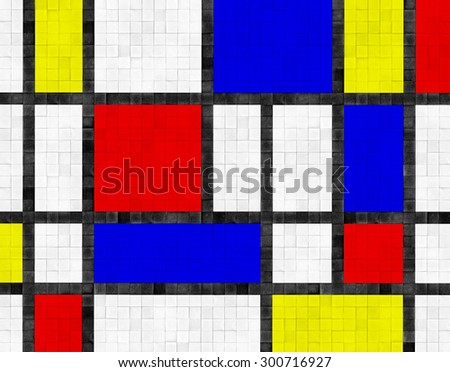 colorful floor or wall tile background - mondrian style