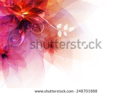 Colorful Floral Abstract Background with White Copy Space.  Flowering Abstraction Art Illustration. - stock photo