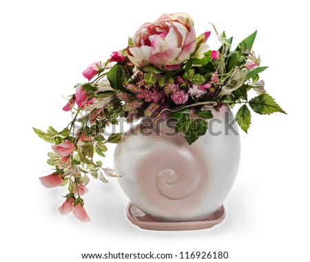 colorful floral arrangement in a pink ceramic vase, isolated on white background - stock photo