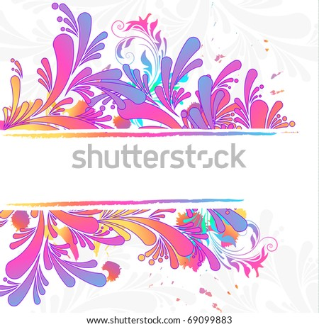 Colorful floral background, raster illustration - stock photo