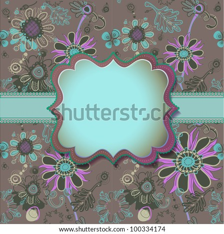 Colorful floral background with fanciful text box. - stock photo