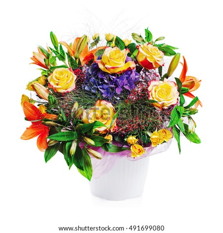 Colorful floral bouquet from roses and other flowers isolated on white background.