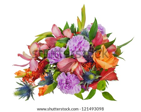 colorful floral bouquet of roses, cloves and orchids isolated on white background - stock photo