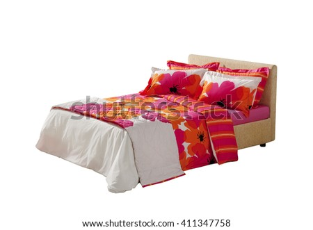 colorful floral covers on double bed isolated on white background  - stock photo