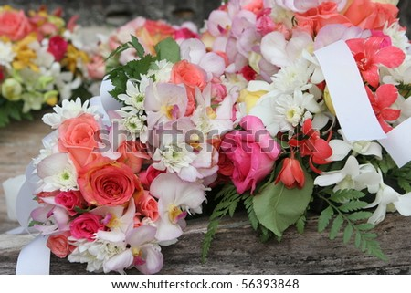 Colorful floral flower arrangement at a wedding. - stock photo