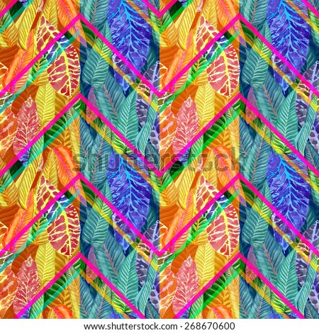 colorful floral pattern with zigzag stripes on a leaves background. yellow, blue abstract floral ornament. zig zag pattern seamless - stock photo