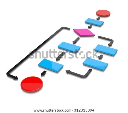 Colorful Flow Chart Diagram on White Background 3D Illustration - stock photo