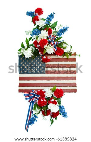Colorful flower arrangement with patriotic design. - stock photo